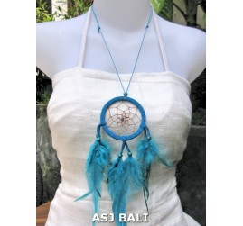 feather dream catcher pendant necklaces turquoise suede leather