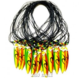 rasta surf board pendant necklace wood from bali