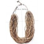 bali beads fashion necklaces multiple strand beige color