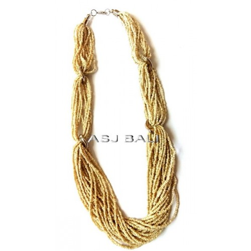 beige beads multiple seeds necklaces ties system