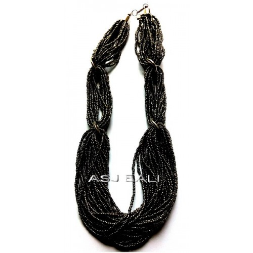 beige beads multiple seeds necklaces tye system black color