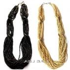 black white multiple beads strand necklaces bali design