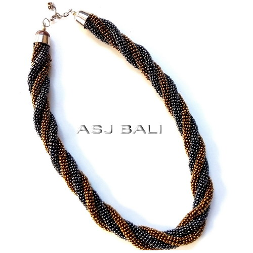 circle bead two strands wired necklaces two color grey gold