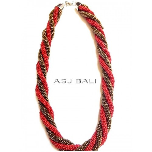 circle beads wired strand necklaces two color red gold