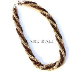 circle beads double strand necklaces two color white golden