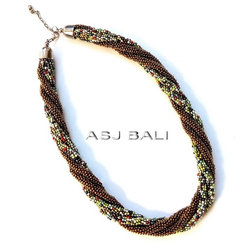 circle beads strand necklaces two color mix gold