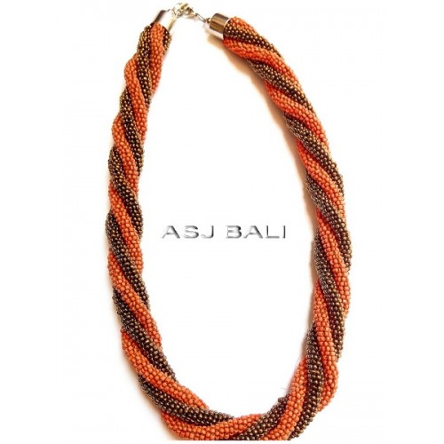 circle beads strand necklaces two color orange gold