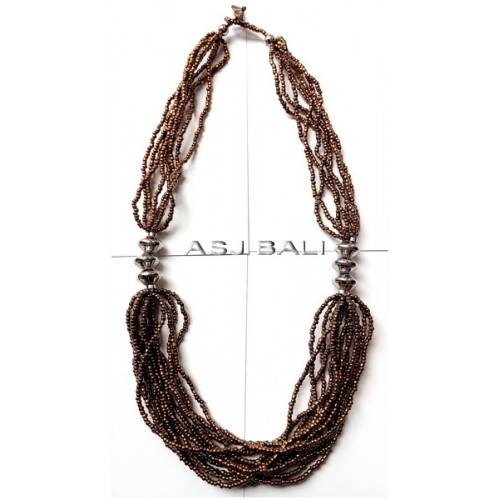 handmade necklaces with beads gold color multiple strand