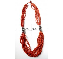 handmade necklaces with beads red color multi seeds