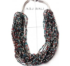 multiple beads fashion necklaces strand mix color beading