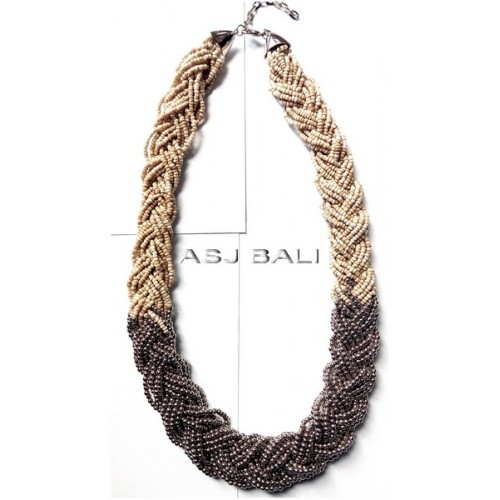 wired beads necklaces multiple seeds with silver accessories beige