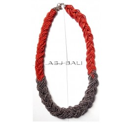 wired beads necklaces multiple seed with silver accessories red