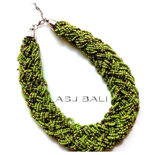 wired beads necklaces multiple seeds full handmade bali