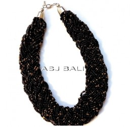 wired beads necklaces multiple seeds full handmade black