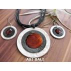 3color necklaces die seashells sets earrings brown