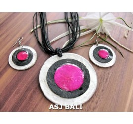 3color necklaces die seashells sets pink earrings leather strings