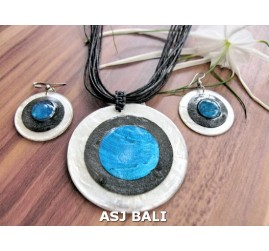 3color necklaces die seashells sets turquoise earrings leather string