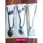 abalone seashells pendant necklaces sets earrings black bead