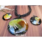 airbrush painting wood abstract necklaces sets earrings leather string