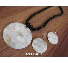 bali seashells resin beads necklaces pendant sets earring mother pearl