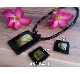 bali seashells resin necklaces sets earrings handmade
