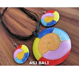 bali wooden ball hand painting necklace sets earrings leather string