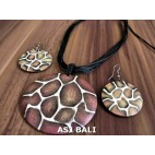 bali wooden hand painting giraffe necklace sets earrings leather string