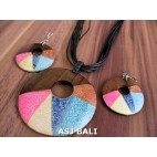 bali wooden natural hand painting necklace sets earrings leather string