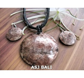 seashells necklaces string leather sets earrings brown