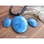 seashells necklaces strings leather sets earrings blue