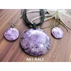 seashells necklaces strings leather sets earrings purple