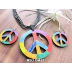 earrings sets necklaces wooden peace hand painting leather string