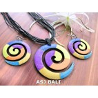 earrings sets necklaces wooden spiral hand painting leather strings