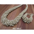 full beads necklaces bracelet sets circle beige color