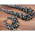 full beads necklaces bracelet sets circle black white color