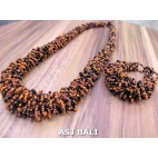 full beads necklaces bracelet sets circle orange black color