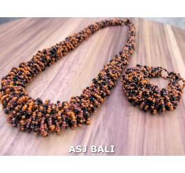 full beads necklaces bracelet sets circle orange black color