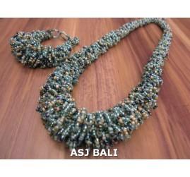 full glass beads necklaces bracelet sets circle mix color