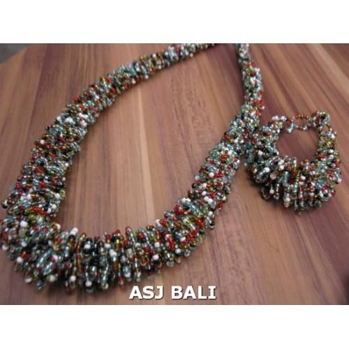 full mix beads long necklaces bracelet sets circle design