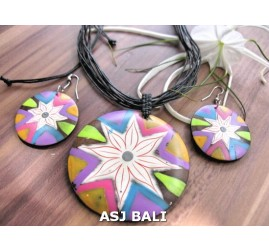 natural wood ball hand painted jewelry sets handmade made in bali