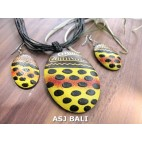 natural wood oval hand painted jewelry sets handmade made in bali