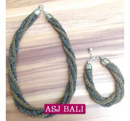 necklaces beads two color sets bracelet abalone gold color