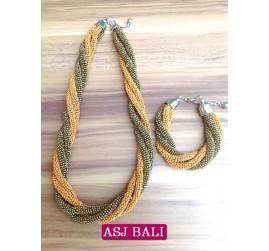 necklaces beads two color sets bracelet orange gold