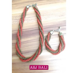 necklaces beads two color sets bracelet red gold color
