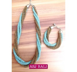 necklaces beads two color sets bracelet turquoise gold