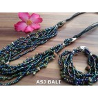 necklaces bracelet set of beads stone multiple strand abalone color