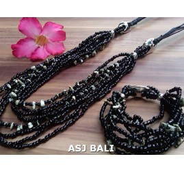 necklaces bracelet set of beads stone multiple strand black