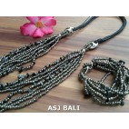 necklaces bracelet set of beads stone multiple strand grey
