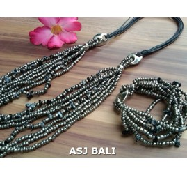 necklaces bracelet set of beads stone multiple strand grey