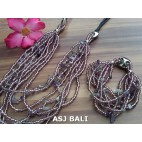 necklaces bracelet set of beads stone multiple strand purple